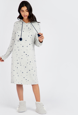 Cozy Collection All-Over Print Sleep Dress with Long Sleeves and Hood