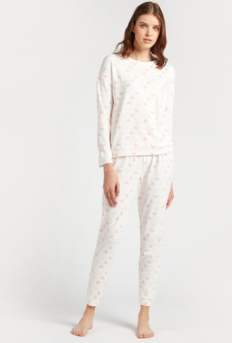 Cozy Collection Heart Print Sweatshirt and Full Length Joggers Set