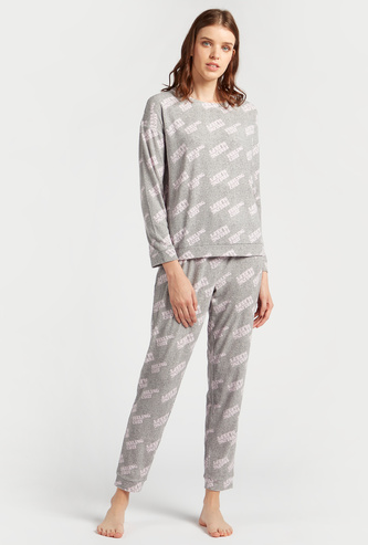 Cozy Collection All-Over Text Print T-shirt and Full Length Pyjama Set