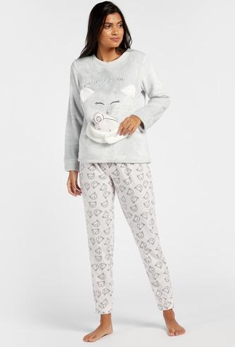Feline Themed Round Neck T-shirt and Printed Pyjama Set