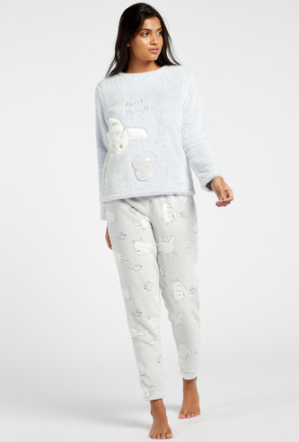Textured Long Sleeves Top and Printed Full Length Pyjama Set