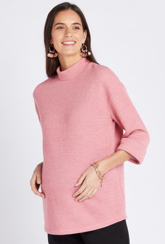 Textured Maternity Sweater with 3/4 Sleeves and High Neck