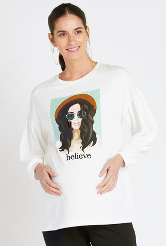 Maternity Believe Print Sweat Top with Long Sleeves