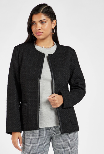 Textured Tweed Jacket with Pocket Detail and Long Sleeves