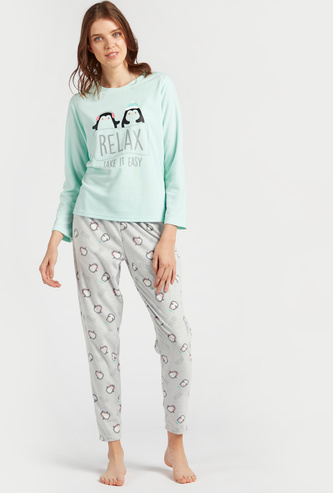 Cozy Collection Graphic Print T-shirt and All-Over Print Pyjama Set