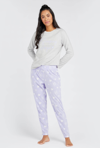 Cozy Collection Printed Round Neck T-shirt and Pyjama Set