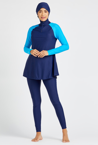 Solid 2-Piece Burkini with Raglan Sleeves