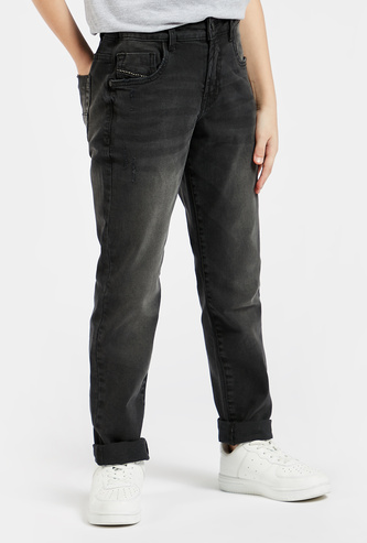 Solid Jeans with Pockets and Button Closure