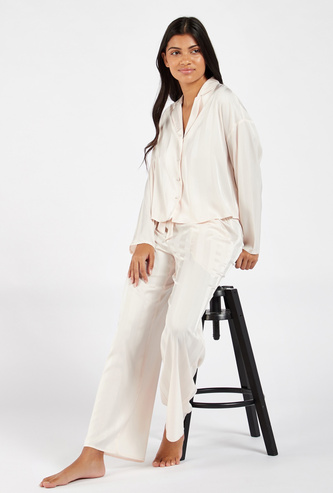 Striped Long Sleeves Collared Shirt and Full Length Pyjama Set
