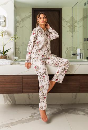 Floral Print Notch Lapel Shirt with Full Length Pyjama Set
