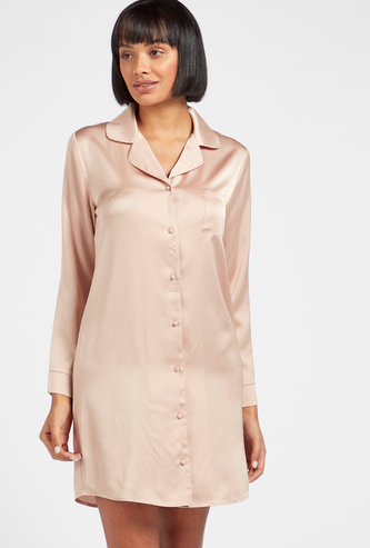 Solid Collared Sleepshirt with Long Sleeves and Complete Placket