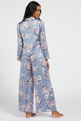 قميص بأكمام طويلة وطبعات زهور وبيجاما بخصر مطاطي