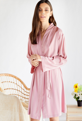 Striped Robe with V-neck and Tie-Ups