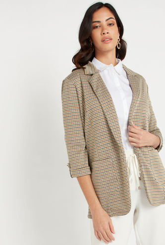 Checked Blazer with 3/4 Sleeves and Pocket Detail