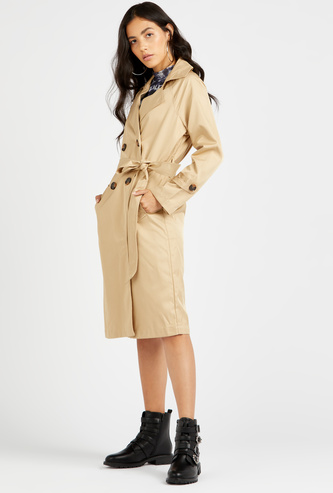 Solid Long Trench Coat with Tie-Ups