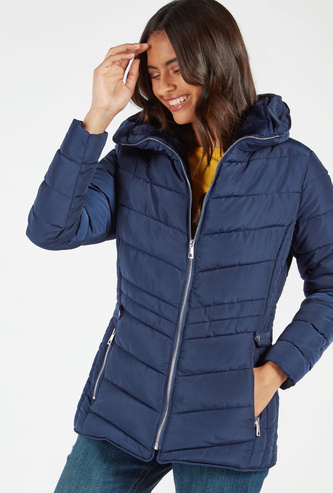 Solid Parka Jacket with Long Sleeves and Hood