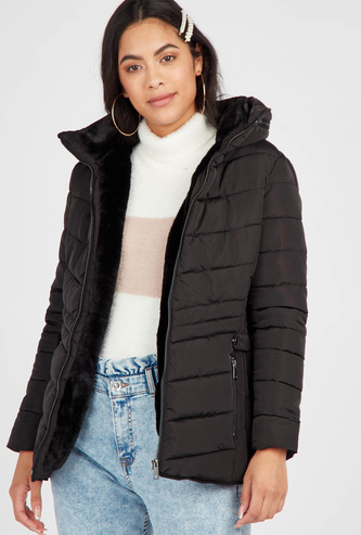 Quilted Hooded Neck Parka Jacket with Long Sleeves and Zip Closure