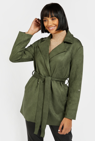 Solid Trench Coat with Spread Collar and Belt