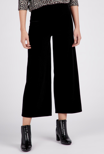 Solid Mid-Rise Ankle Length Palazzos