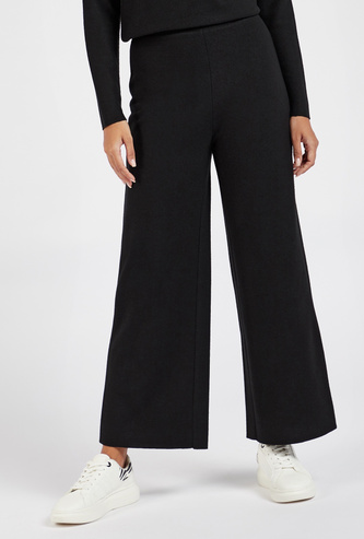 Solid Mid-Rise Ankle Length Palazzo Pants with Elasticated Waistband