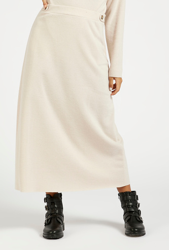Solid A-line Midi Skirt with Button Detail
