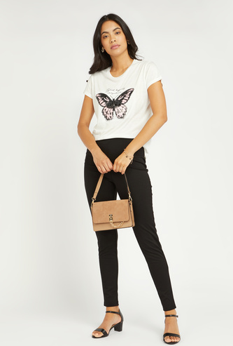 Textured High-Rise Ponte Pants with Button Detail