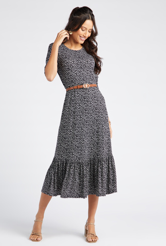 Printed Midi Tiered Dress with Round Neck and 3/4 Sleeves