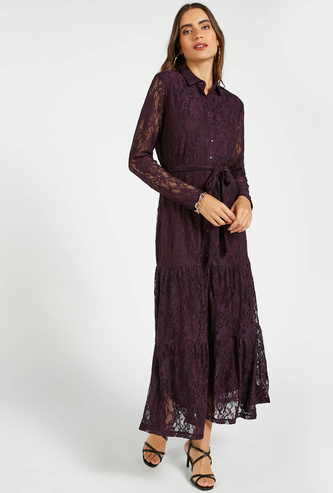 Lace Detail Maxi Tiered Shirt Dress with Long Sleeves