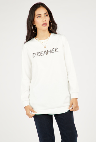 Hip-Length Embellished Sweat Top with Long Sleeves