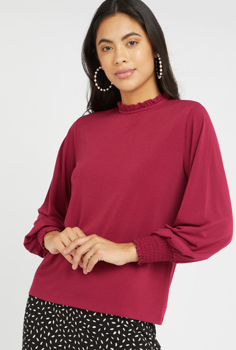 Textured Top with High Neck and Bishop Sleeves