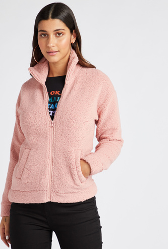 Plush Detail High Neck Fleece with Long Sleeves and Zip Closure
