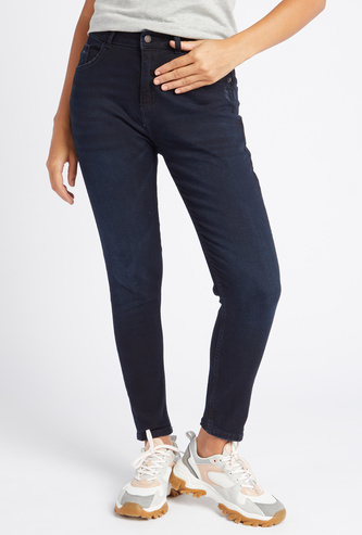 Skinny Fit High-Rise Solid Jeans with Pocket Detail