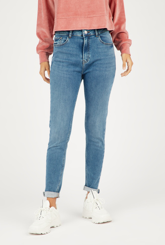 Skinny Fit High-Rise Jeans with Button Up Closure and Pockets