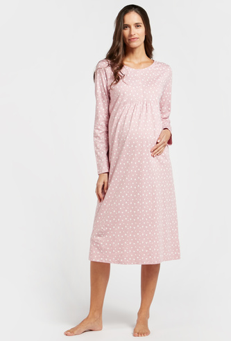 Maternity All-Over Hearts Print Sleep Dress with Long Sleeves