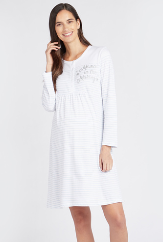 Striped Round Neck Maternity Sleepshirt with Long Sleeves