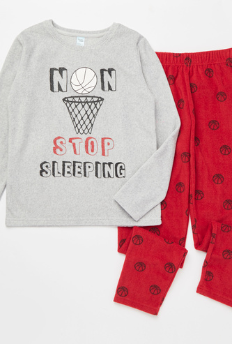 Slogan Print Long Sleeves T-shirt with Full Length Pyjama Set