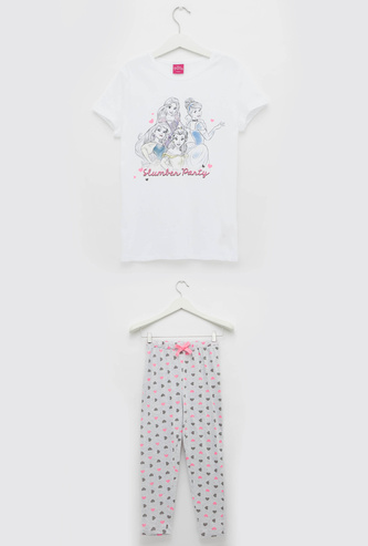 Princess Print Round Neck T-shirt and Full Length Pyjama Set