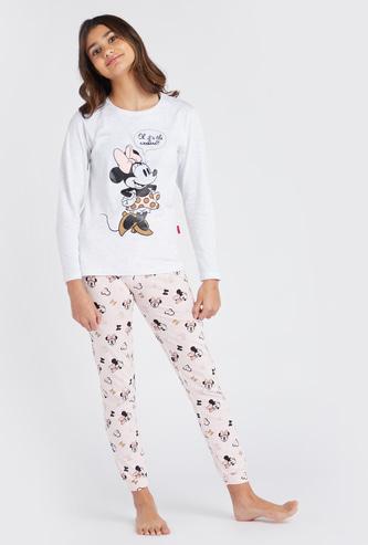 Minnie Mouse Print Round Neck Top and Pyjama Set