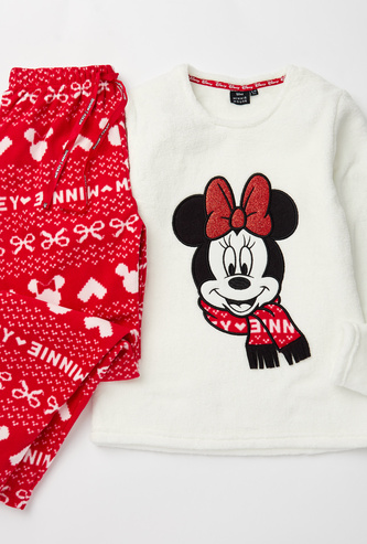 Minnie Mouse Print Round Neck Top and Full Length Pyjama Set