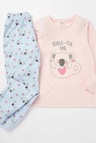 Koala Print Round Neck T-shirt and Joggers Set