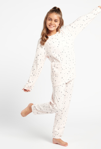 All-Over Star Print Long Sleeves T-shirt and Full Length Pyjama Set