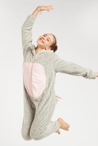 Zip Front Fox Onsie with Long Sleeves and Hood