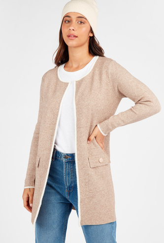Textured Open Front Cardigan with Long Sleeves