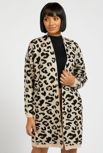 Animal Print Thigh Length Cardigan with Long Sleeves