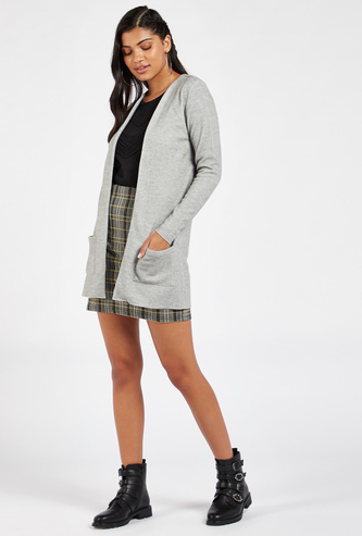 Solid Hip-Length Cardigan with Long Sleeves and Patch Pockets