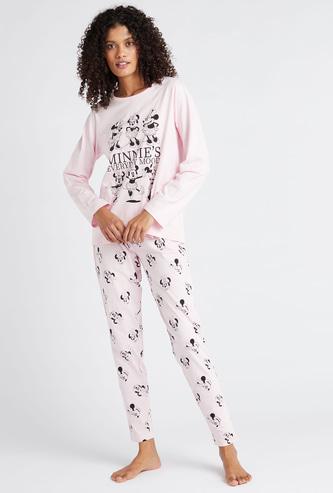Minnie Mouse Print T-shirt and Full Length Pyjama Set