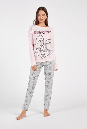 Bugs Bunny Printed Long Sleeves T-shirt and Full Length Pyjama Set
