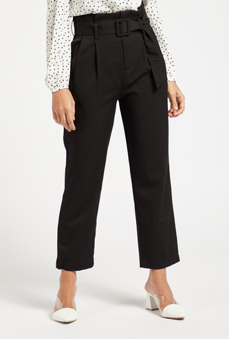 Solid Paperbag Waist Pants with Buckle Closure