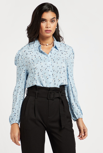 Floral Print Shirt with Long Sleeves and Complete Placket