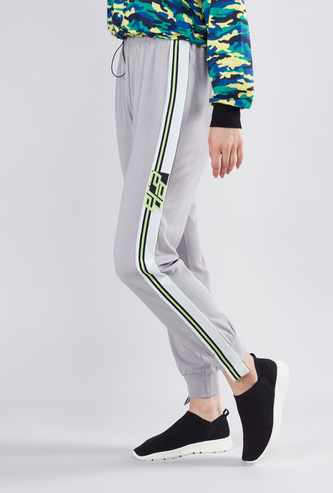 Tape Detailed Cuffed Joggers with Drawstring Closure